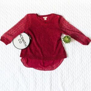 Lucky Brand | Red Chiffon Open Back Cinema Sweater